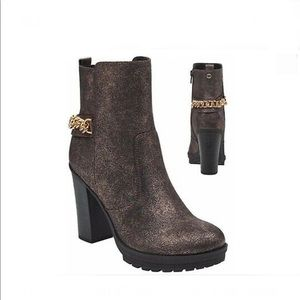 GGGreedy Chain-Link Ankle Boots, Bronze | Size 6.5
